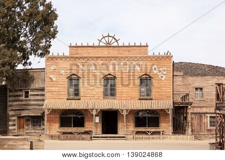 TABERNAS SPAIN - OCT 17 2015: Saloon at the Fort Bravo Texas Hollywood western style theme park in the Province of Almeria Spain