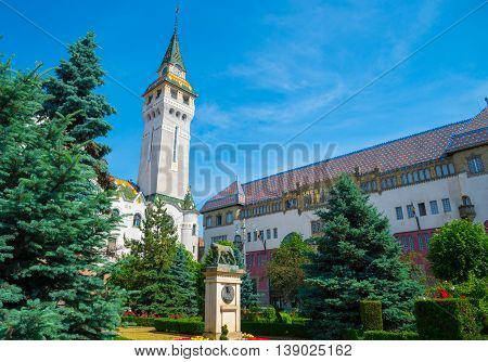 Traditional architecture of the beautiful palace of culture in Targul Mures town, Romania