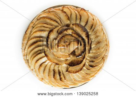 Apple Tart. Traditional French Sweet Dessert Isolated On White Background. Delicious, Appetizing, Ho