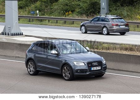 FRANKFURT GERMANY - JULY 12 2016: Audi SQ5 SUV on the highway in Germany