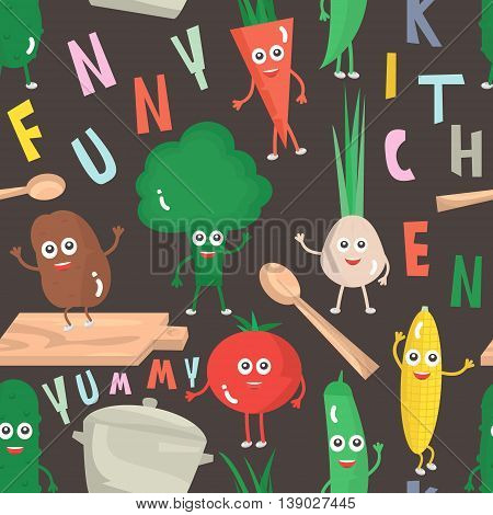 Seamless pattern with cartoon vegetables. Vector Illustration.