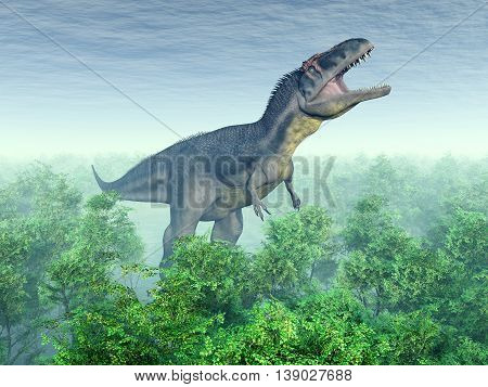 Computer generated 3D illustration with the dinosaur Tyrannotitan