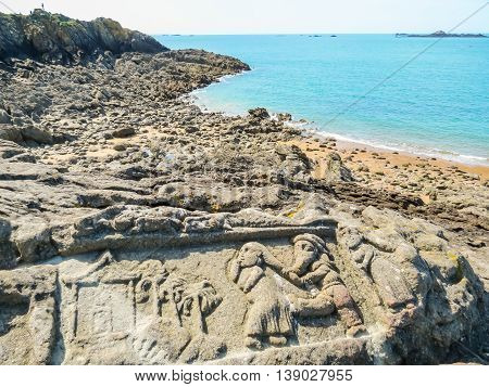 SAINT MALO, FRANCE - MAY 3 2014: Sculptures in rocks. Rotheneuf, Brittany, France