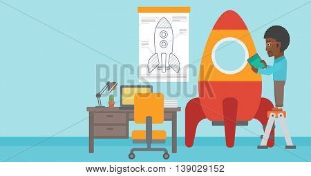 An african-american man standing on ladder and engeneering a rocket. Business start up concept. Vector flat design illustration. Horizontal layout.