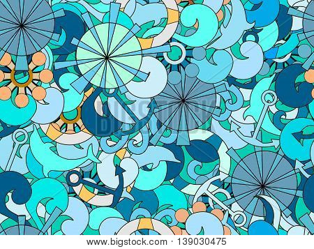 Seamless Pattern On The Marine Theme.  Hand-drawn Doodles Waves And Objects.