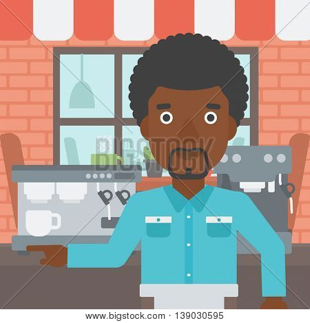 An african-american barista sanding in front of coffee machine. Barista at coffee shop. Barista making a cup of coffee. Vector flat design illustration. Square layout.