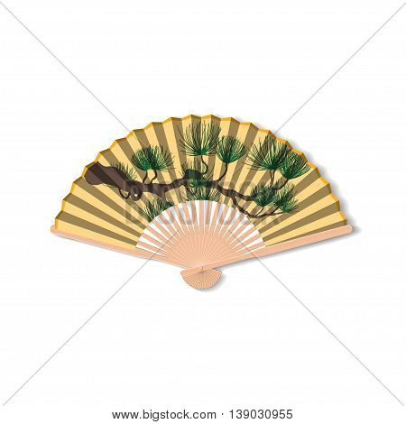 Fan for Kabuki dance. Geisha accessories. Vector illustration