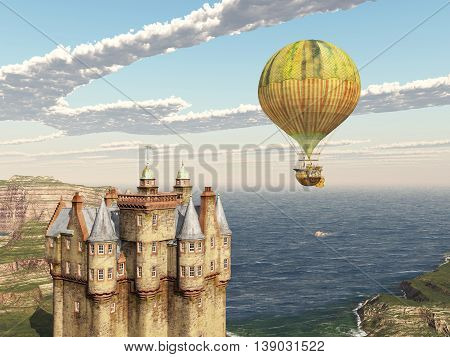Computer generated 3D illustration with Scottish castle and fantasy hot air balloon