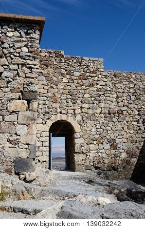Opened gate in Khor Virap ancient monastery located at Ararat plain, Armenia, unesco world heritage site