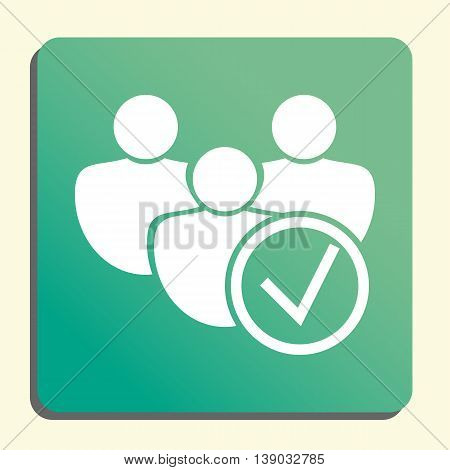 User Accept Icon In Vector Format. Premium Quality User Accept Symbol. Web Graphic User Accept Sign On Green Light Background. poster