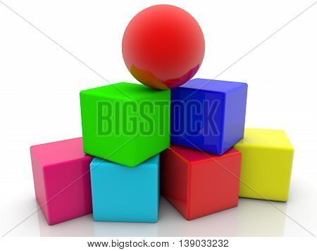 Toy cubes assembled in pyramid with red ball on the top . 3D illustration