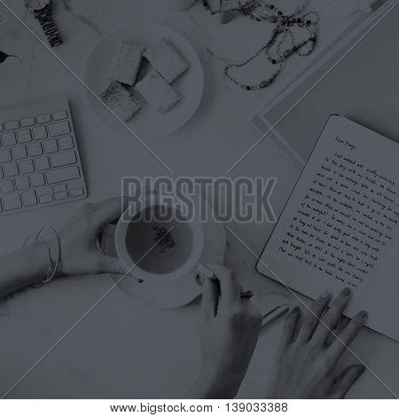 Women Writing Diary Teatime Concept