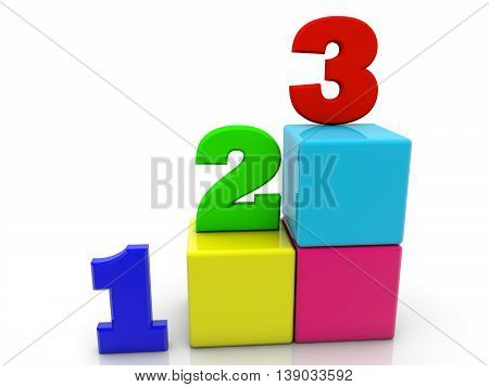 Toy cubes with numbers 1,2,3 on white . 3D illustration
