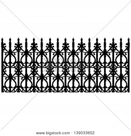 Vector illustration wrought iron modular railing and fence. Vintage gate with swirls