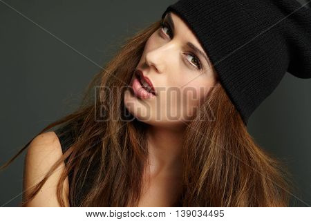 Girl Wearing Knitted Cap