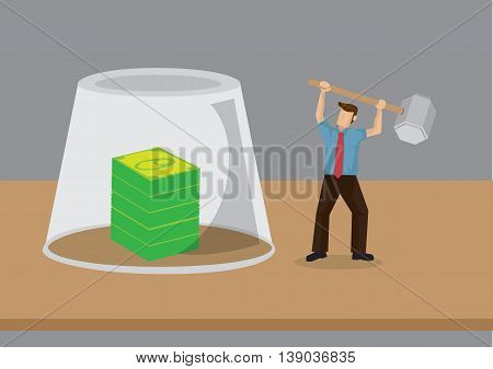 Vector illustration of a tiny cartoon man raising a mallet to break the glass barrier between him and the stake of money.