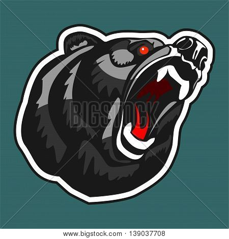 Angry Bear. Vector logo in the form of a head growling bear