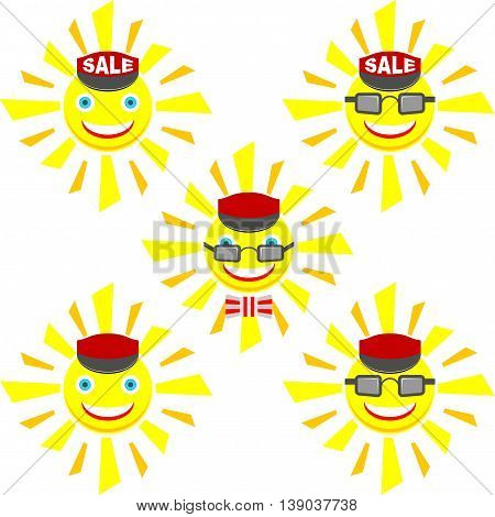 Set of smiling suns in cartoon style
