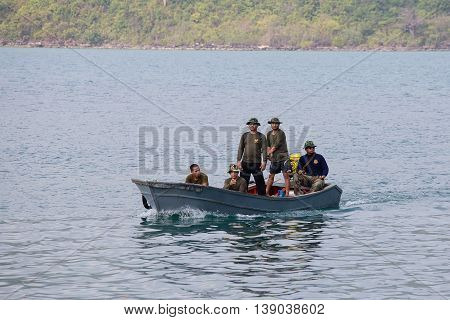 KOH KOOD THAILAND - JANUARY 30 2015 : Unidentified thai border guards patrol the sea near the Cambodian border