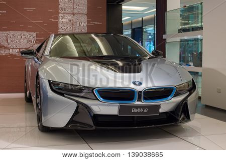 BANGKOK THAILAND - JANUARY 07 2016 : BMW i8 car on display at the Siam Paragon Mall in Bangkok. With 300000 sqm of retail space Siam Paragon is one of the world's largest malls.