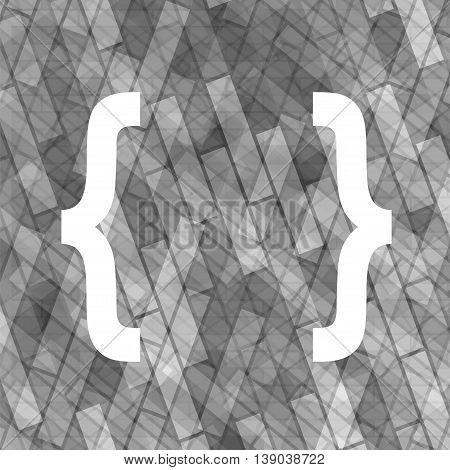 Curly Bracket Icon Isolated on Grey Brick Background