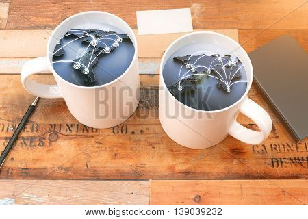 two cup of coffee with world map. 3D Rendering