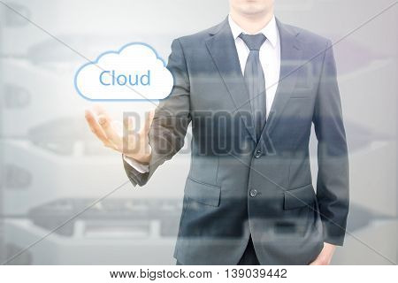 Double Expoure Of Cloud Computing Concept On Hand Of A Businessman With Servers Computing Technology