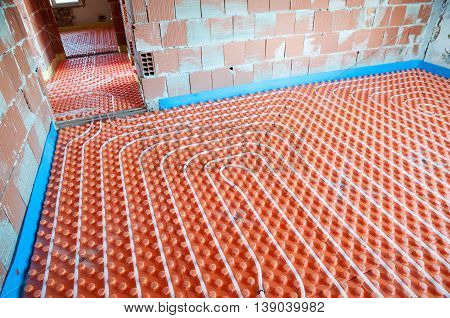 Floor heating installation in a big house