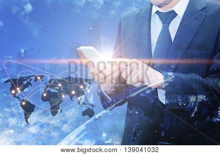 Double Exposure Of Professional Businessman Using Cloud Technology In Smart Phone With Servers Techn