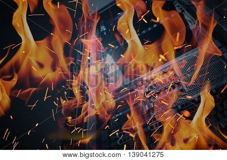 Disaster In Data Center Room Server And Storage On Fire Burning.
