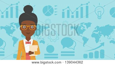 An african-american business woman holding a file in hand while standing with growing chart and a map on a background. Vector flat design illustration. Horizontal layout.