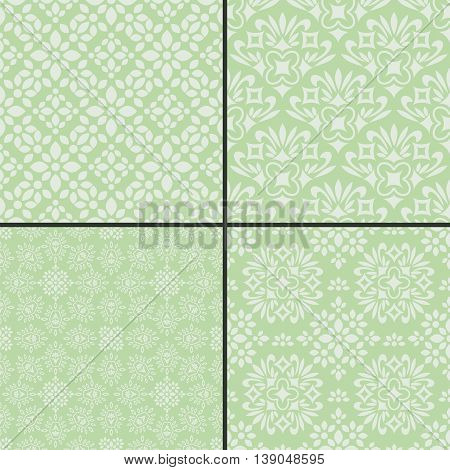Seamless decorative patterns with abstract pastel green ornament