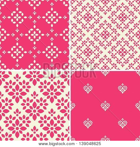 Seamless decorative patterns with abstract pink and white ornament