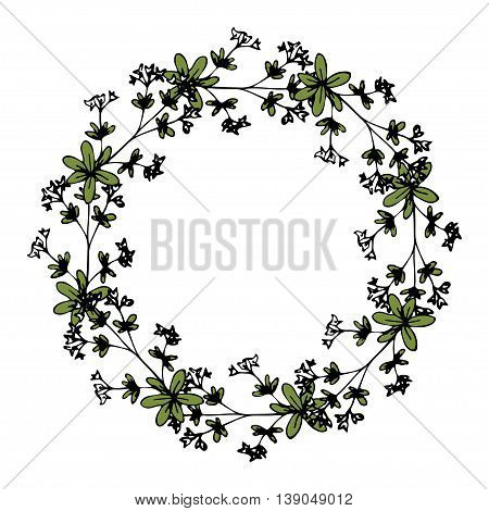 Floral wreath with decorative natural hand drawn flowers