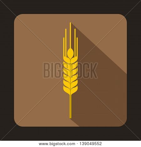 Stalk of ripe barley icon in flat style on a coffee background