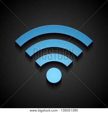 Blue wifi tech icon on black background. Wi-fi wireless technology vector design
