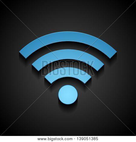 Blue wifi tech icon on black background. Wi-fi wireless technology vector design