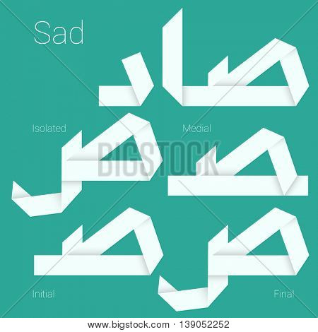 Folded paper Arabic typeface.Letter Sad.  Arabic decorative character set stylized as paper ribbon artisan for interface, poster and web design. Isolated, initial, medial and final forms.