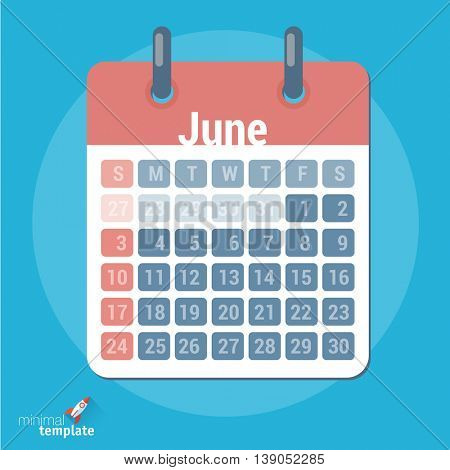Flat design vector calendar icon mock up  for application interface, presentation and web design. Vector template for planning, schedule, calendar, booking online.