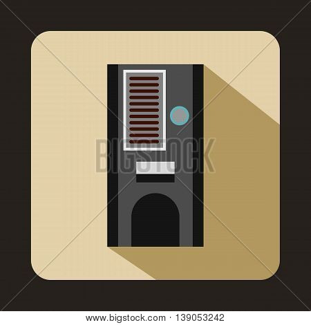 Coffee vending machine icon in flat style on a beige background