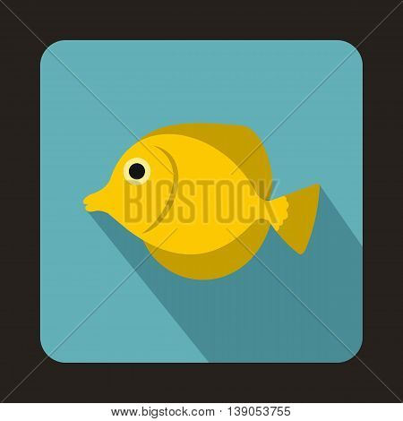 Yellow Tang fish, Zebrasoma flavescens icon in flat style on a baby blue background