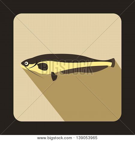 Atlantic mackerel, Scomber scombrus icon in flat style on a beige background