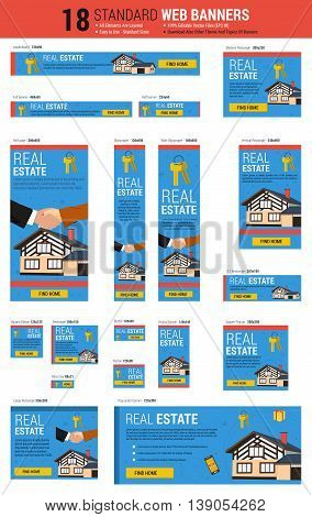 Vector template of eighteen web standard size banners on topic - Real Estate. All the most common size of banners. Each on its own layer. Easily editable. See other topics of web banners