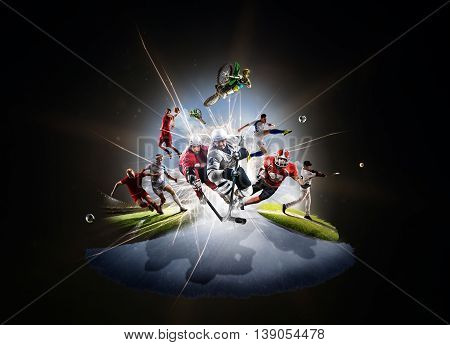 Multi sports collage from soccer basketball hockey footbal baseball dirt bike