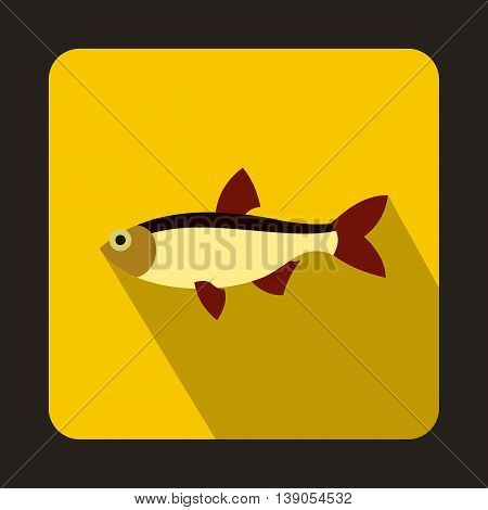 Rudd fish icon in flat style on a yellow background