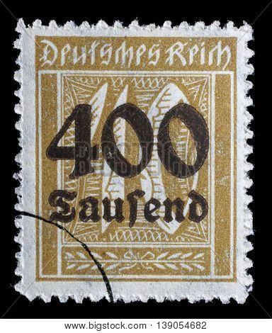 GERMAN REICH - CIRCA 1923: A postage stamp printed in Germany shows numeric value, circa 1923.