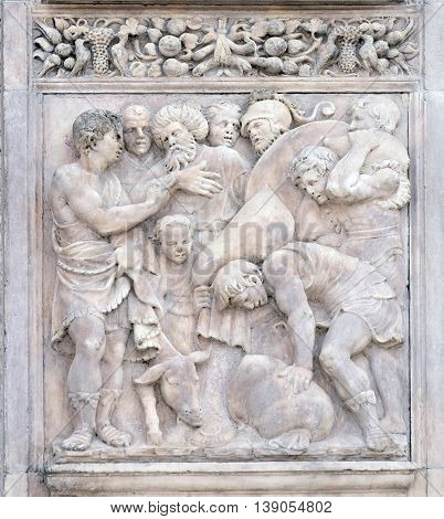 BOLOGNA, ITALY - JUNE 04: The finding of the cup in Benjamin's sack by Gerolamo da Treviso, right door of San Petronio Basilica in Bologna, Italy, on June 04, 2015