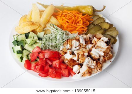 shawarma still life on a plate meat chicken cabbage carrot onion pepper Isolated white background