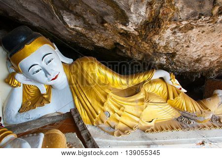 Big Buddha Statue Which Lies, Religious Carving. Hpa-an, Myanmar. Burma.
