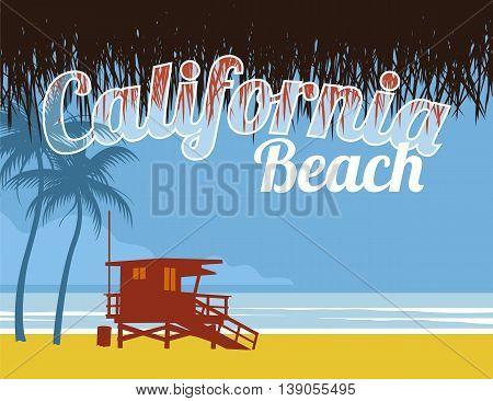 ilustracion abstracta de playa de california, con  puesto de salvavidasy palmeras